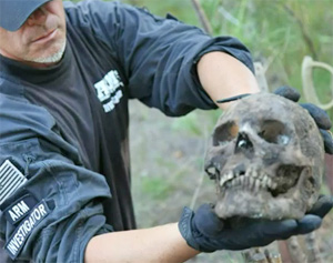 A human skull found at the site.