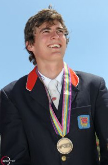 George Whitaker with his team bronze medal at the FEI European Jumping Championships for Children, Juniors and Young Riders 2011 in Portugal.