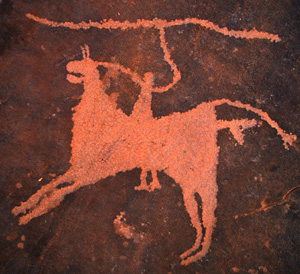 Unambiguously domesticated horses appear in petroglyphs dating back to the second or late third millennium BCE. This mounted hunter is from northwestern Saudi Arabia.