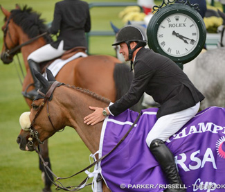 """Eric Lamaze and Coriana van Klapscheut won the $32,000 RSA Cup on June 14 at the CSI4*-W Spruce Meadows 'Continental' tournament in Calgary, AB."""" Photo Credit – Parker/Russell – The Book LLC"""