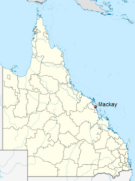 Map showing location of Mackay in Queensland.