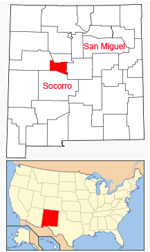 Map showing location of Valencia County (in red) in New Mexico.