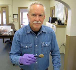 Dennis Jenkins with a human coprolite (dried feces) found in Oregon's Paisley Caves.