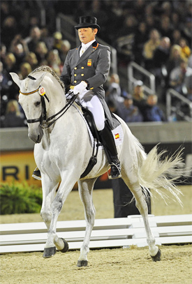 "Juan Manuel Munoz Diaz and the spectacular Fuego XII, who was dubbed ""The White Totilas"" at the World Equestrian Games in 2010."
