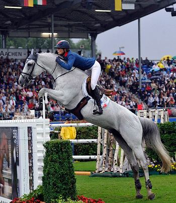 Penelope Leprevost and Mylord Carthago jumped double-clear to help clinch pole position for France at the fifth leg of the FEI Nations Cup™ 2012 in Aachen, Germany tonight. Photo: FEI/Kit Houghton.