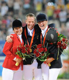 Individual 2008 eventing Olympic medallists: Gina Miles (USA), silver; Hinrich Romeike (GER), gold; and Tina Cook (GBR), bronze.