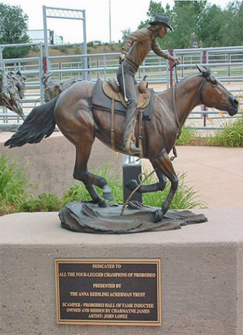 The bronze sculpture of Scamper at the Pro Rodeo Hall of Fame.