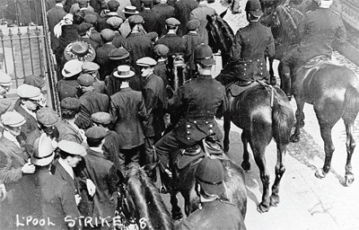 Police clearing the street during the Liverpool Strike.