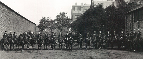 Lancashire Constabulary Mounted Branch Riding School at 9th Battery of the Lancashire Field Artillery, Stanley St Preston. At front, Superintendent Blanchard on Colonel.
