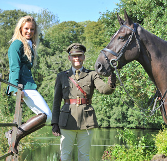 Michelle Kenny from Wexford and Capt. Brian Curran-Cournane, Army Equation School Dublin holding Couraguneen Royal Diamond.  Both riders will be competing in September during the  Johnson & Perrott Land Rover International Horse Trials 2012 at Ballindenisk, Co. Cork, which was announced today. At the event Brian will be competing Courguneen Royal Diamond in the Heineken CCI1*.  Photo taken at the Castlemartyr Resort.