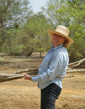Heather Armstrong at work along Calums Road in Gambia.