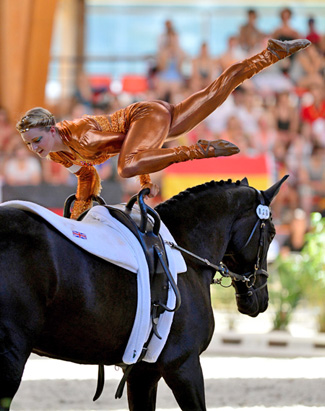 Joanne Eccles (GBR) was in a class of her own when claiming individual gold at the FEI World Vaulting Championships in Le Mans (FRA). Teamed up with W H Bentley, lunged by her father John Eccles, she took the title by a massive margin.