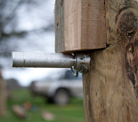 A pin and blocks on a fence at Badminton.