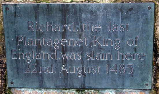 Memorial plaque to King Richard III; near to Shenton, Leicestershire, Great Britain