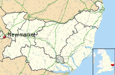 Newmarket shown within Suffolk in Britain.