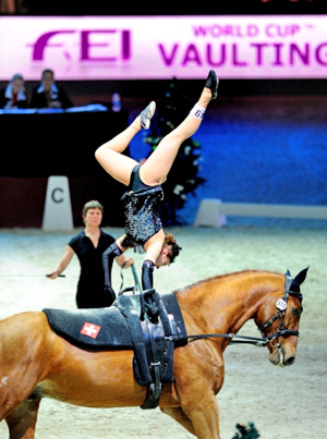 Switzerland's Simone Jäiser vaulting on Luk heads the rankings in the female competition going into the FEI World Cup Vaulting 2012/2013 series.