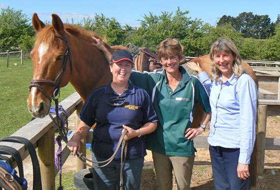 North Loburn Equestrian Centre manager and course tutor Elaine Rutherford, centre,  with students Kay James, right, of Rangiora Pony Club, and Angela Cameron, from Christchurch, left, with school horse Louie.