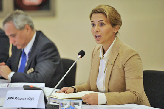 FEI President Princess Haya announces the €16 million four-year sponsorship package for the Furusiyya FEI Nations Cup in November 2012.