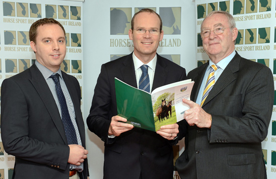 Minister for Agriculture, Food and the Marine Simon Coveney T.D., centre, with Joe Walsh, Chairman of Horse Sport Ireland, right, and Dr. Alan Fahey, Lecturer in Genetics at UCD School of Agriculture and Food Science, left,  in attendance during the launch of the UCD Study of the Sport Horse Sector with Minister Simon Coveney. Department of Agriculture Food & the Marine, Agriculture House, Kildare Street,  Dublin. Picture credit: Brian Lawless / SPORTSFILE