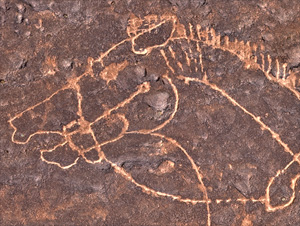 Detail from the Nabonidus Horseman rock art at Tayma.