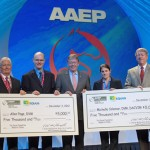 Michelle Coleman and Allen Page were presented with the $5000 fellows at the AAEP convention earlier this month. L-R: Dr Richard Mitchell, Equus Foundation Board member, Dr Allen E. Page, Dr Wayne McIlwraith, AAEP Foundation Chairman, Dr Michelle C. Coleman, and Dr John Mitchell, 2012 AAEP President.