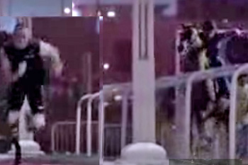 Edited still from the above video shows the Oscar Pistorious getting a good start while the horse gets a thrashing.