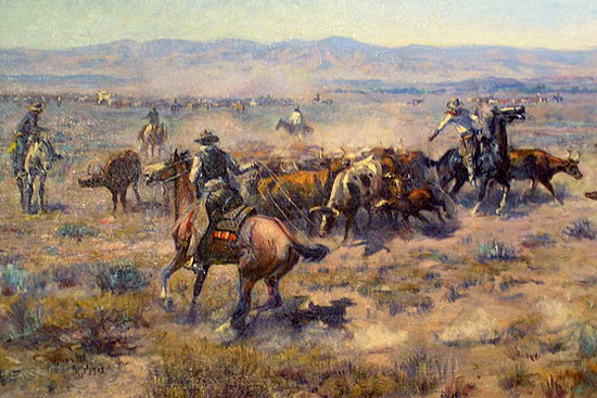 A classic image of the American Cowboy, by famed US artist Charles Russell. The origins of the cowboy are less well known.