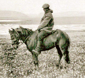 wegener on little fox.jpg  Alfred Wegener led the last polar equestrian expedition, which took place in 1930.