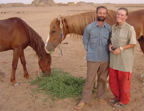 "Billy and Christy with Nali and Chami. ""We have learnt so much about ourselves, our horses and the people of Africa. We have discovered that the most important things to pack on a journey like this are: Patience, Perseverance and Politeness! They are far more useful than a dictionary,"" Christy wrote."