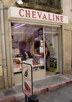 A butcher shop specializing in horse meat in Pezenas, Languedoc, France.
