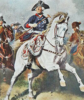 A Knötel print depicting Frederick II the Great during the Seven Years' War.