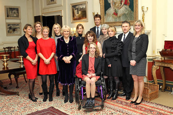 Camilla, the duchess of Cornwall, with London 2012 Olympic equestrian athletes at the reception on Tuesday.