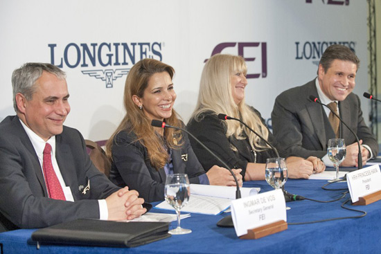 Ingmar De Vos, FEI Secretary General; HRH Princess Haya, FEI President; Nayla Hayek, Chair of the Board of Directors of the Swatch Group; and Juan-Carlos Capelli, Vice-President and Head of International Marketing at Longines, at today's press conference in Lausanne (SUI) celebrating the historic partnership between the FEI and Swiss watchmaker Longines.