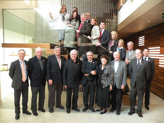 The Bromont bid team, led by committee president Paul Côté (fourth from left), was at FEI Headquarters today to make a presentation to the FEI Evaluation Commission in its bid to host the FEI World Equestrian Games™ in 2018, prior to a final decision by the FEI Bureau in July. The Evaluation Commissions is led by FEI Secretary General Ingmar De Voss (fourth from right).