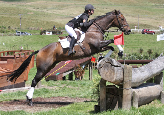 Defending Junior title holder Sarah Young and Oakley Vision on the cross-country last year.