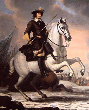 The Swedish king Karl XI on his horse Brilliant after the battle in Lund, December 4, 1676, painted by David Klöcker Ehrenstrahl.