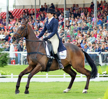 New Zealand eventer Annabel Wigley keeps her cool during a tense moment on Black Drum at Badminton in 2010.