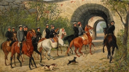 John Arsenius and other riders at Uppsala Castle in the 19th century. John Arsenius was Academy Equerry 1877–1888.