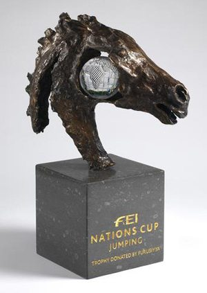 The new FEI Nations Cup jumping trophy.