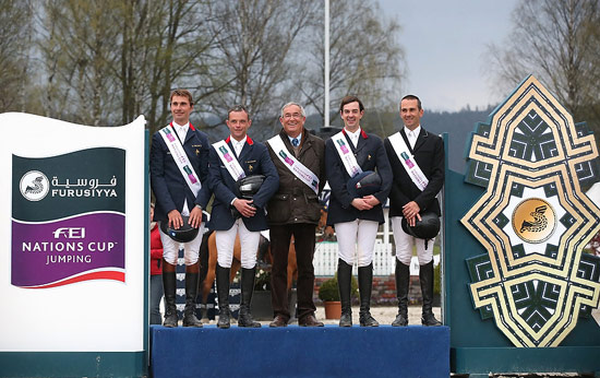 The French team recorded their second victory of the inaugural season at round five of the Furusiyya FEI Nations Cup Jumping 2013 series at Drammen, Norway, on Friday. L-R: Nicolas Delmotte, Mathieu Billot, chef d´equipe Philippe Guerdat, Francois Xavier Boudant and Timothée Anciaume.