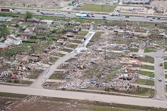 Tornado damage in Moore, Oklahoma.