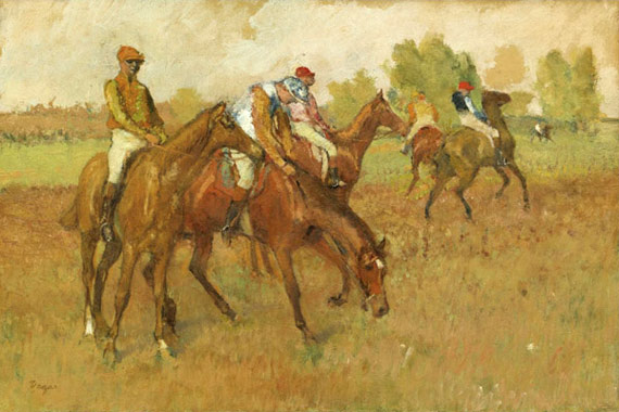 "The Edgar Degas pastel ""Avant La Course"", for which the Jockeys sketch was a preparatory drawing."