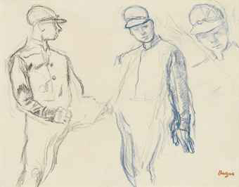 """Jockeys (Trois Études)"" was a preparatory study for the pastel, ""Avant La Course"", held by the the Cleveland Museum of Art."