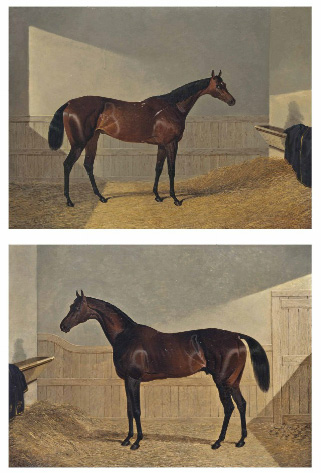 Two works by John Frederick Herring Sr, Oxygen, top, and Lochinvar are being offered as one lot.