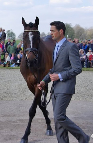 Jonathan Paget and Clifton Promise at the beginning: the first trot-up on Thursday morning at Badminton.