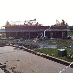 The main barn at Orr Family Farm after the tornado.