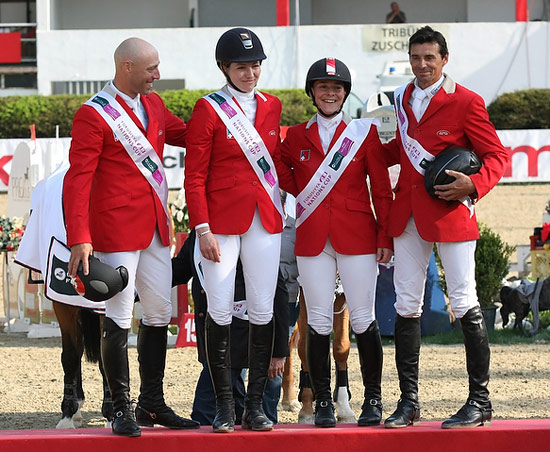 The Swiss team won the third leg of the Furusiyaa FEI Nations Cup Jumping 2013 series at Linz, Austria. L-R: Pascal Bettschen, Christina Liebherr, Claudia Gisler and Theo Muff.