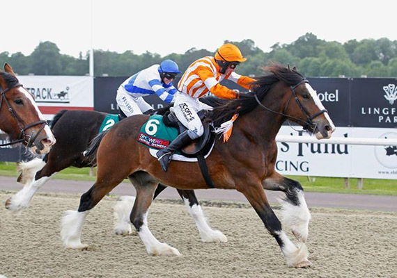 Joey storms to the lead with Mark Grant up in the Shire race at Lingfield.