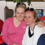 Laura Collett, left, with a friend at Badminton.