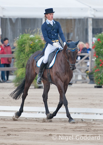 Sweden's Ludwig Svennerstal thrilled the home crowd to finish the dressage phase in third place on Shamwari 4.